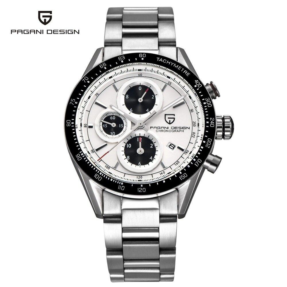 PAGANI DESIGN Men's Chronograph Auto Date Stainless Steel Watch Sport Military Japan Quartz Wristwatches Man reloje PD-2665