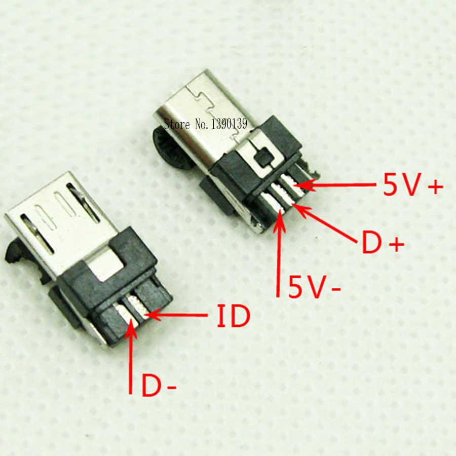 10 bộ Micro USB 5PIN Loại Hàn Nam Cắm Nối Charger 5 P USB Đuôi Sạc Ổ Cắm 4 trong 1 trắng Đen