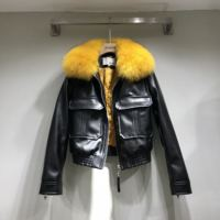 2018 Sale Casual Full Leather Jacket Women Women's Leather Jacket Pu Real Fox Fur Collar Zipper Motorcycle Quilted Woman