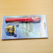1pcs Portable Pocket Telescopic Mini Fishing Pole Pen Shape Folded Rod With Reel Wheel 2019 Drop Shipping