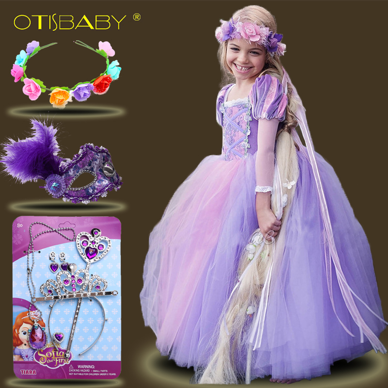 Kids Girls Princess sofia Rapunzel Dresses Full Ball Gown Long Party Dress Children Clothing Kids Cosplay Costume Masquerade недорго, оригинальная цена