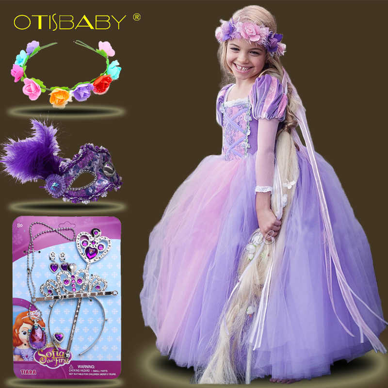 615a8c70a0 Kids Girls Princess sofia Rapunzel Dresses Full Ball Gown Long Party Dress  Children Clothing Kids Cosplay