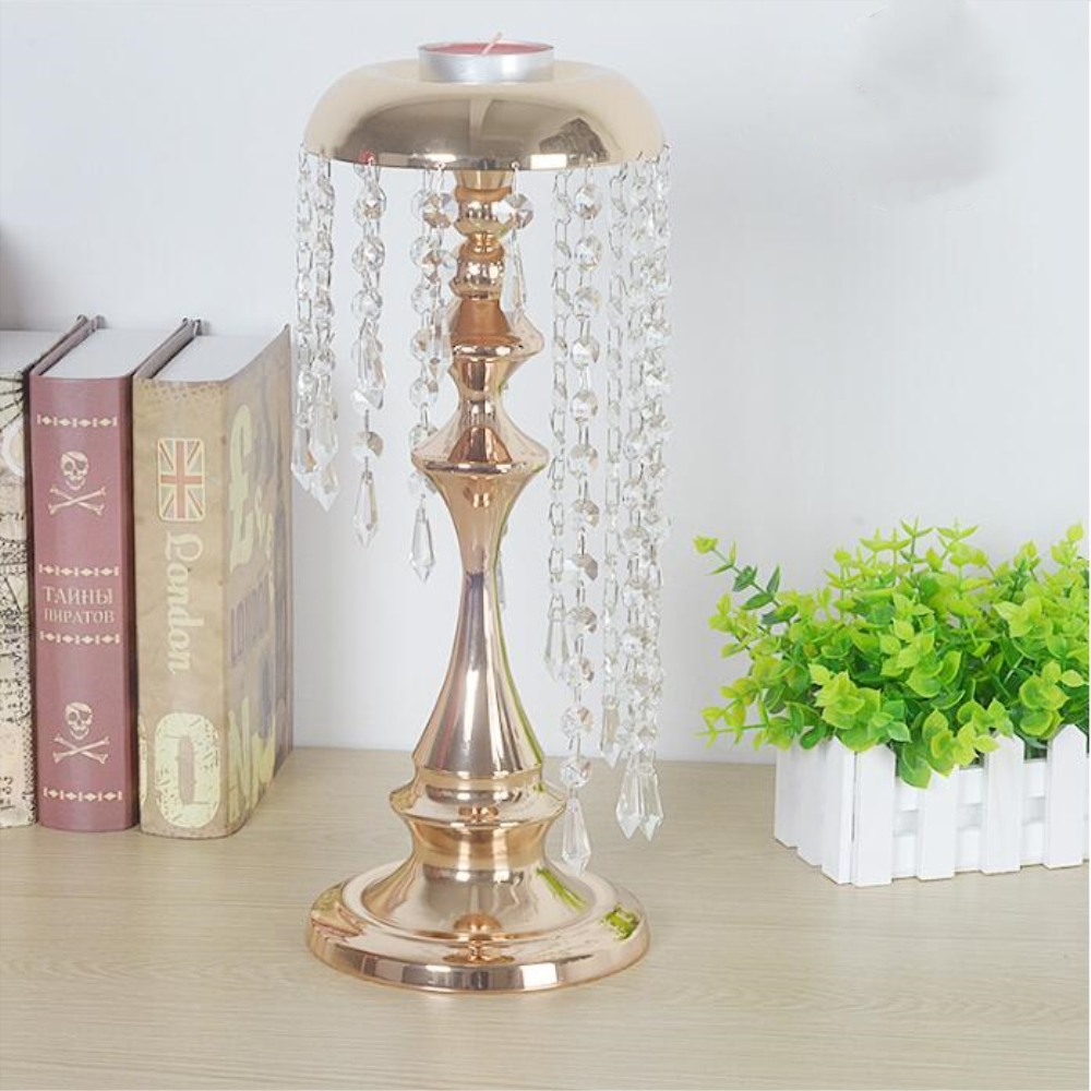Metal delicate gold plated candle holder with crystals wedding ...