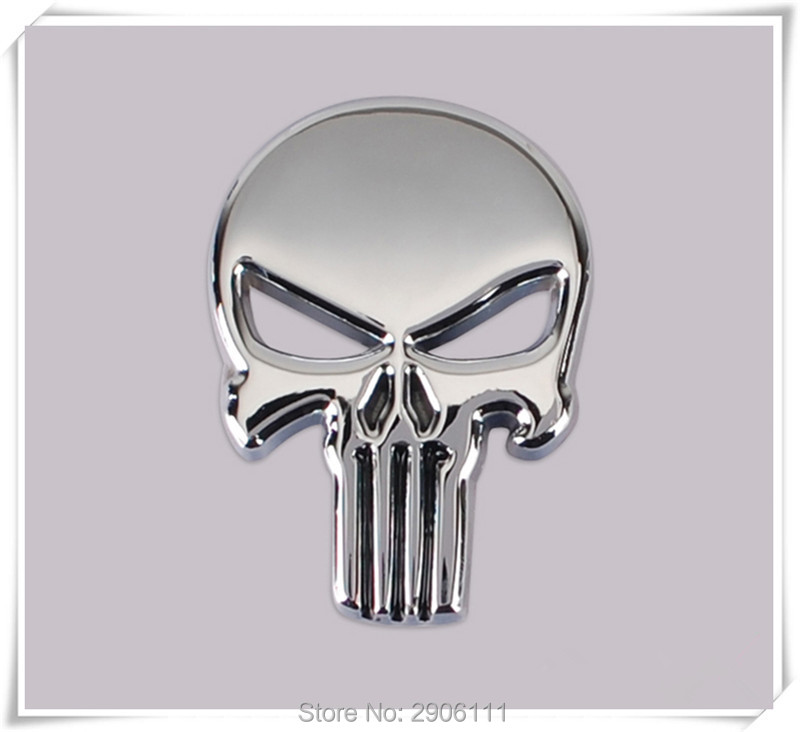 car styling 3d metal the punisher skull emblem badge for. Black Bedroom Furniture Sets. Home Design Ideas