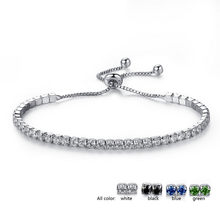Crazy Feng New Fashion Adjustable Tennis Bracelets For Women Shiny Crystal Silver Color Chain Bangle & Bracelet Jewelry Gift(China)