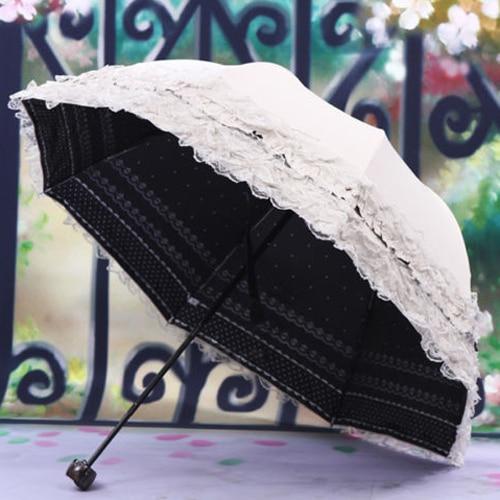 Women's Princess Dome/Birdcage Sun/Rain Folding Umbrella For Wedding Lace Trim beige new panda windproof anti uv sun rain flower princess parasol folding umbrella bumbershoot
