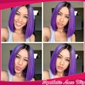 Fashion New arrive Synthetic Short Wigs 1pc Full Lace Front Straight Bob Wigs purple Color natural Cosplay Wigs Fast Shipping