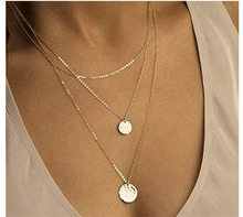 DIY womens alloy big necklace double round pendant fashion new items jewelry