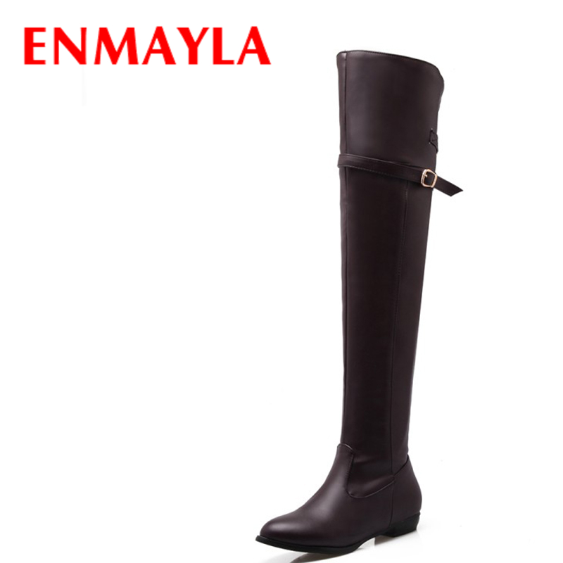 Airfour Fashion Winter Long Boots Shoes Woman Round Toe Flat With Large Size 34-45 Over-the-knee Platform Warm