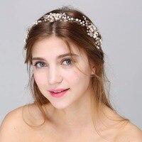 Bridal Hair Jewelry Clear Crystal Leaf Flower Headband Women Wedding Handmade Gold Silver Plated Hair Accessories