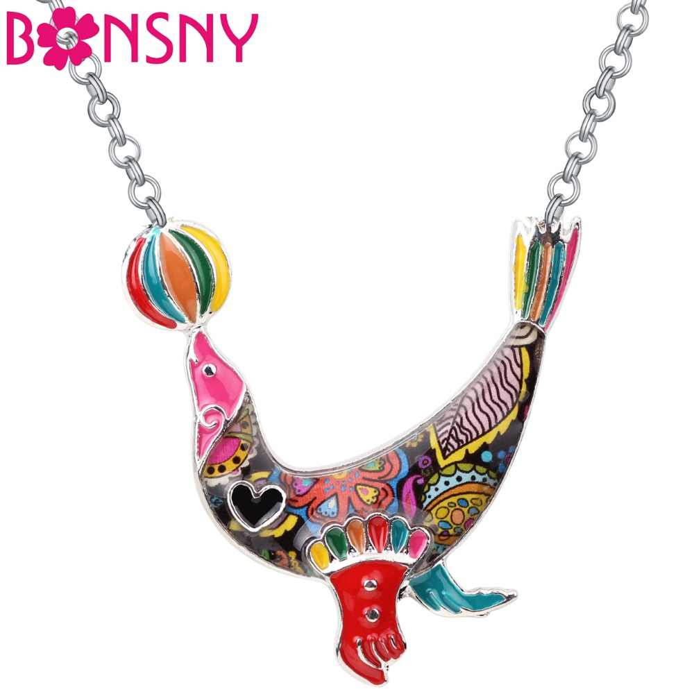 Bonsny Statement Alloy Enamel Ball Sea Lion Necklace Pendant Chain Choker Cartoon Animal Jewelry For Women Girls Gifts Party New