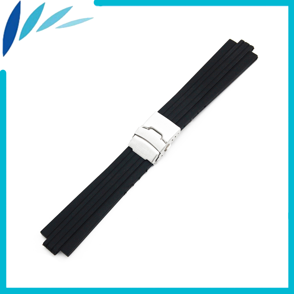 Silicone Rubber Watch Band 10mm X 24mm, 12mm X 22mm Convex Mouth Watchband Safety Clasp Strap Wrist Loop Belt Bracelet Black купить недорого в Москве