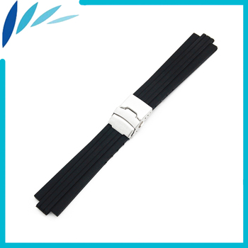 Silicone Rubber Watch Band 10mm X 24mm, 12mm X 22mm Convex Mouth Watchband Safety Clasp Strap Wrist Loop Belt Bracelet Black silicone rubber watch band 22mm 24mm for fossil stainless steel clasp strap wrist loop belt bracelet black spring bar tool