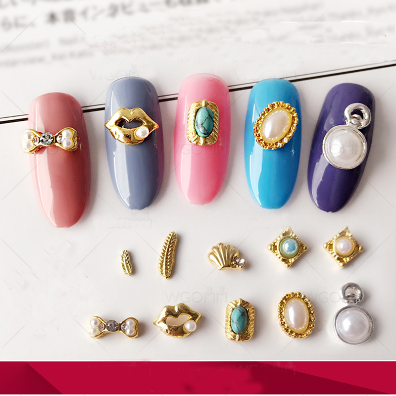 New Fashion 3D Metal Alloy Nail Art Decoration 2017 New Nail Charms Studs Nails 3d Jewelry NP360 in Rhinestones Decorations from Beauty Health