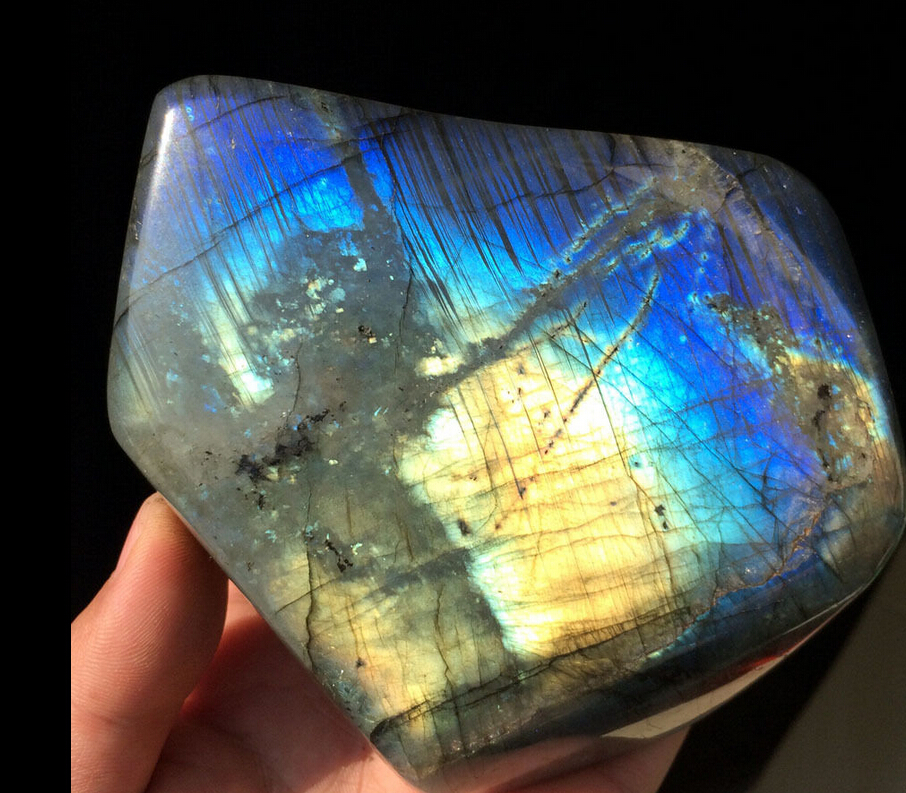 00943 Natural Labradorite Crystal Rough Rock Polished --From Madagascar Y-71 Bronze Statue