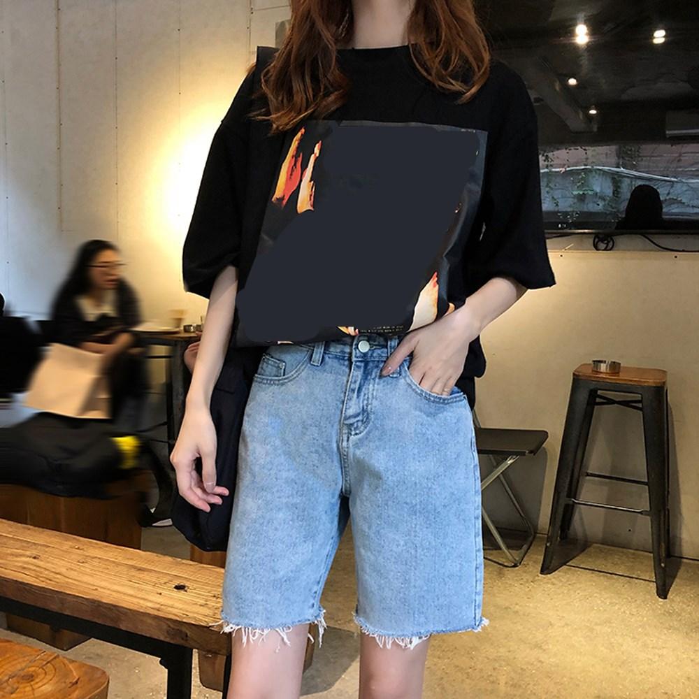 Women Vintage Half Length Casual Shorts Solid Tassel High Wasit Denim Shorts Korean Straight Loose Shorts