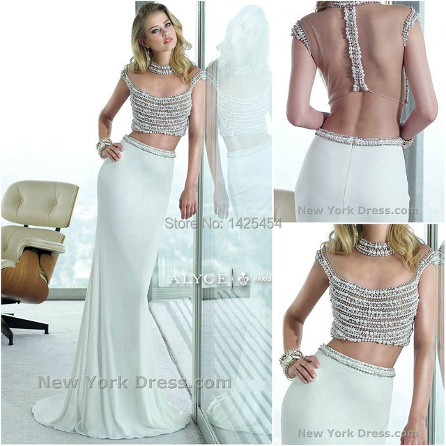 81593fd7f1f1e RP024 Sexy High Neckline Beaded Pearls Two Pieces Prom Dresses 2015  Fashionable White Sheer Back Long Evening Gown