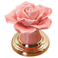 PINK 10 PCS 40mm Vintage Rose Ceramic Door Knob Floral Handle Pull With Gold Plated Alloy