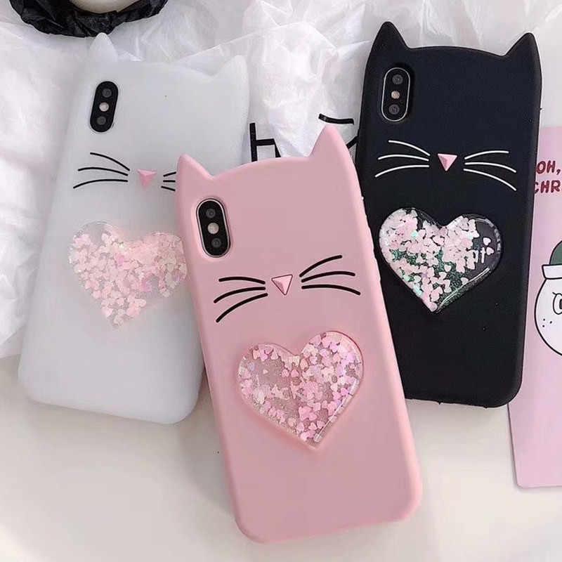 Glitter Keberuntungan Cat Case untuk Samsung Galaxy A7 2018 Pasir Isap Cair untuk Samsung Galaxy A7 2018 A750F A750 SM-A750F Yang 7 2018 Case