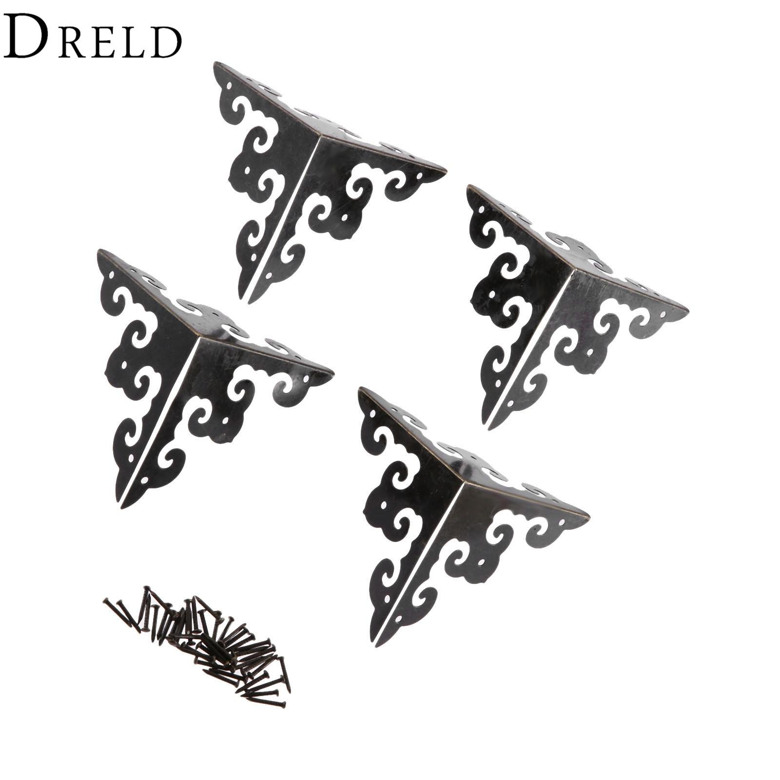 DRELD 4Pcs 50mm Antique Bronze Wood Box Feet Leg Corner Protector Guard Metal Crafts Decorative Bracket For Furniture Hardware