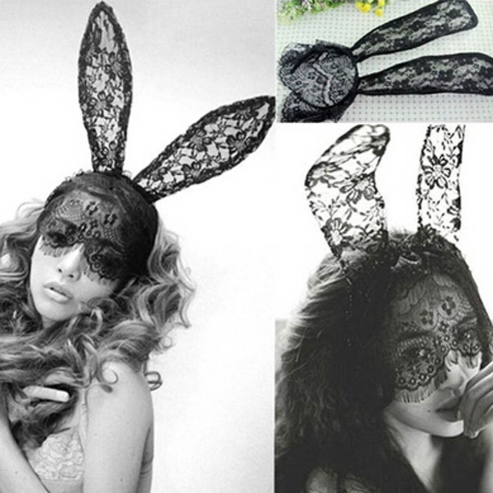 New Arrival Adult Sexy Black Lace Rabbit Ears Bunny Hair Accessories Veil  Mask Headwear Drop Shipping-in Women s Hair Accessories from Apparel  Accessories ... d90441cd7a82