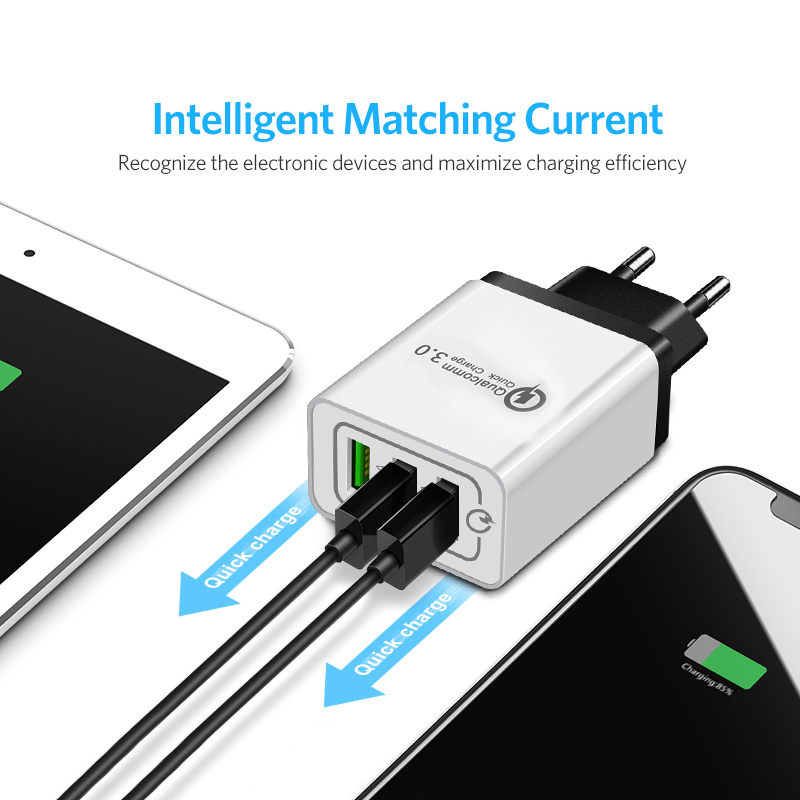 ROCK Quick Charge 3.0 Phone Charger 3 USB QC 3.0 Fast Charging Travel Wall Charger For Samsung Xiaomi EU Plug
