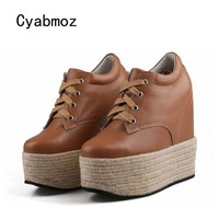 Cyabmoz Platform Women Shoes Wedge Sexy High Heels Genuine Leather Casual Party Woman Shoes Pumps Zapatos Mujer Tenis Feminino