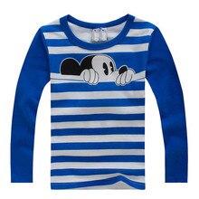 Autumn Winter 100% Cotton Kids T Shirt Cartoon Mouse Long Sleeve Baby Boys Girls T-Shirt Children Pullovers Tee Boys Clothes