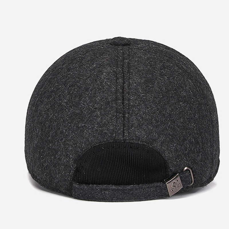 63518891b Winter Men Plain Woolen Felt Baseball Caps with Earflaps Thickened Warm  Felt Hat Casquette Male Cotton Cap Sombrero GH-897