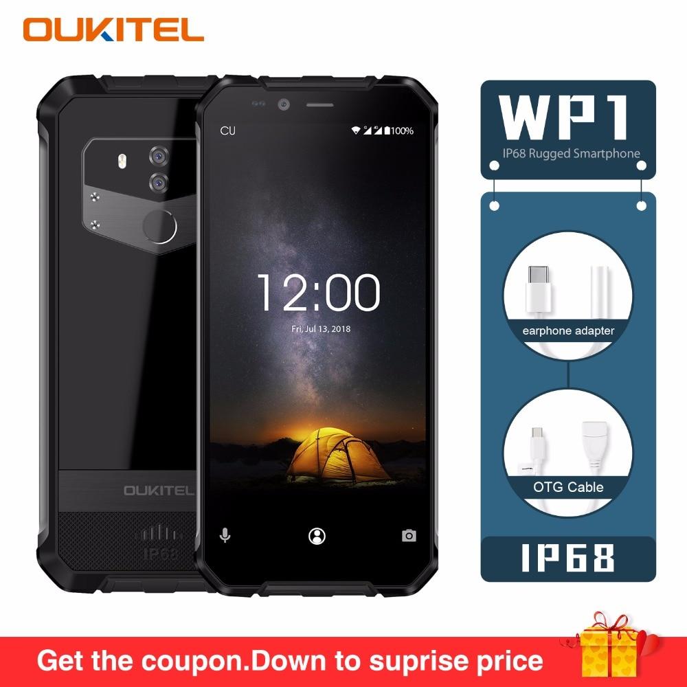 "OUKITEL WP1 IP68 Waterproof Android 8.1 4GB 64GB Mobile Phone 5000mAh Octa Core 5.5""Display 5000mAh Wireless Charging Smartphone"