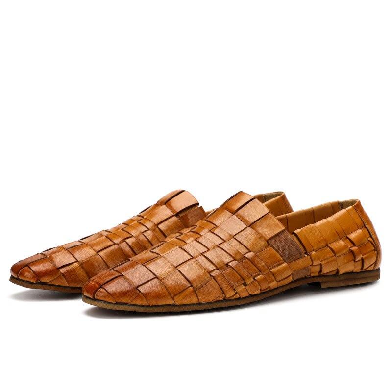 Nouveau hommes tendance chaussures 100% tricoté à la main en cuir véritable chaussures angleterre en cuir hommes respirant affaires chaussures décontractées hommes - 5