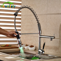 Pull Down Spray Chrome Kitchen Sink Faucet One Hole Deck Mount Mixer Tap With LED Lights