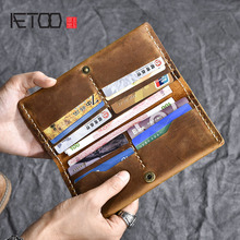 AETOO Handmade Crazy Horse Leather Long Wallet Simple Cloth
