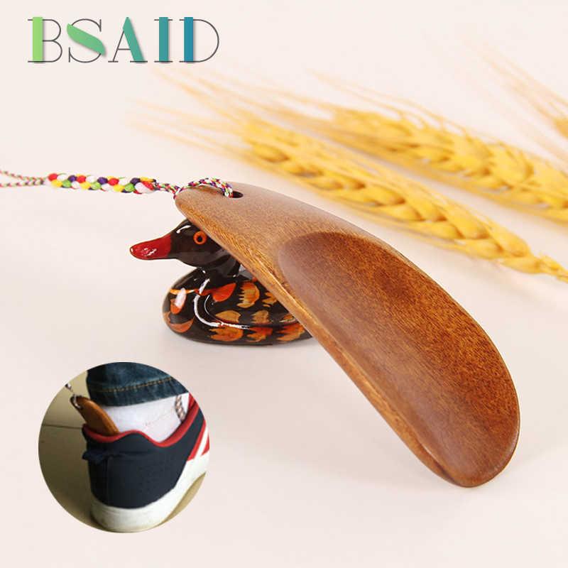BSAID ポータブル木製 Shoehorns 円滑な固体木製靴ホーン靴スプーンサクションリフターロープ Schoenlepel 靴アクセサリー