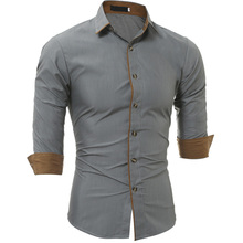 New Autumn Fashion Brand Men Clothes Slim Fit Long Sleeve Shirt Surround Cotton Casual Social Plus Size M-3XL