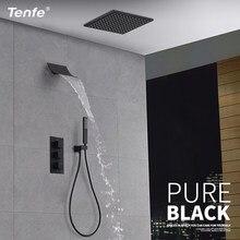 Tenfe матовый черный настенный термостатический смеситель для душа черный Термостатический скрывается набор для душа Бесплатная доставка
