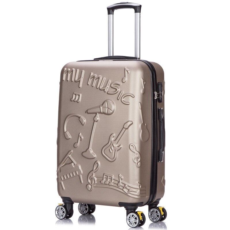Letrend 3D Bunte Roll Gepäck Spinner Frauen rose Gold Koffer Räder Kabine Trolley Reisetasche 20/24 zoll Tragen Auf Stamm - 3