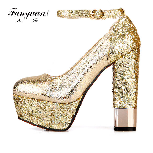 Fanyuan Women Pumps Glitter Heels Elegant Ankle Strap Heels Platform Shoes  Woman Gold Silver Sexy Ladies Prom High Heeled Shoes bf583e8f845c