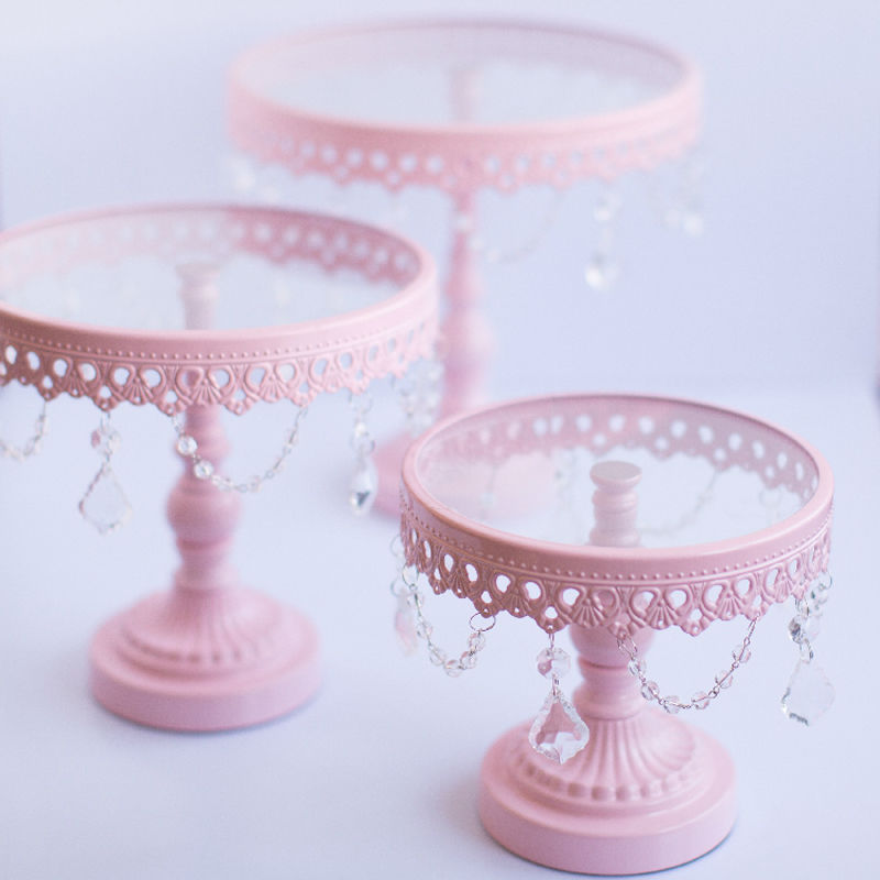 Wedding cake stand Pink color glass metal cake stands 3pce set party decoration supplier baking pastry