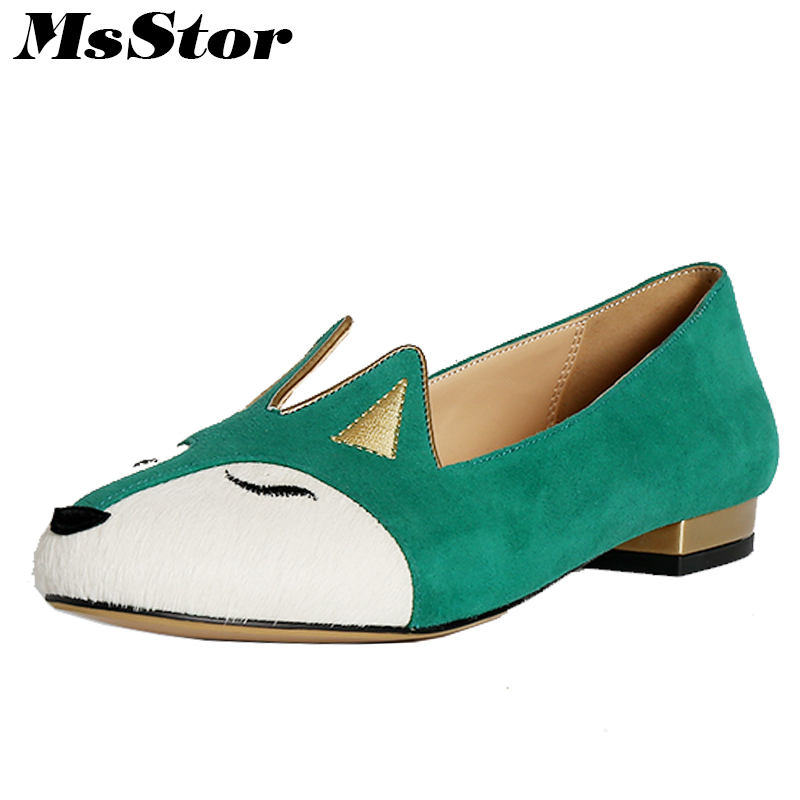 MsStor 2018 Spring New Women Shoes Fashion Fox Horsehair Casual Women Flats Mixed Colors Fur Slip On Round Toe Women Flat Shoes casual flat shoes woman 2018 spring solid loafers slip on flats fashion round toe women shoes 3 colors size 35 40 f039
