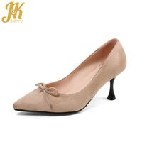 JK 2018 New Autumn High Heels Women Pumps Rubber Summer Fashion Ladies Shoes Butterfly Knot Flock Shallow Pointed Toe Footwear