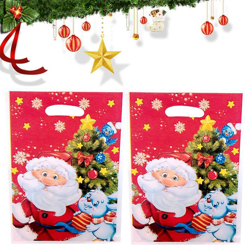 10pcs Christmas Gift Bags Plastic Boutique Pouches Shopping Gift Package Bag Christmas Supplies 17*25cm Drop Shipping