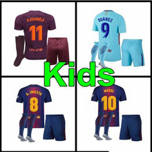 6858543a6dd 2017 2018 best quality Barcelonaing messi kids kit +sock Shirts suarez  dembele little boys 17 18 child Home red Away blue 3RD