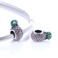 Passend Für Europäische Armbänder Ananas Mit Strass Perlen Original Sterling-Silber Schmuck DIY Perlen Großhandel Charms