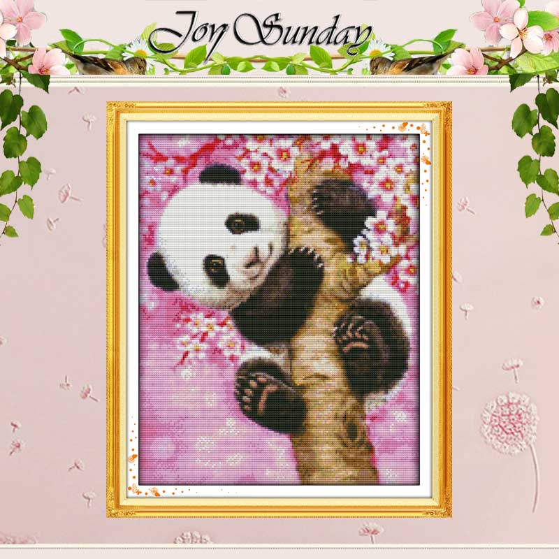Panda Patterns Counted Cross Stitch 11CT 14CT Cross Stitch Set Wholesale Kinesiska Djur Stitch Kit Broderi Needlework