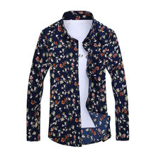 2019 Retro Floral Printed Man Casual Shirts Fashion Classic Men Dress Shirt Breathable Men's Long Sleeve Brand Clothing YN552