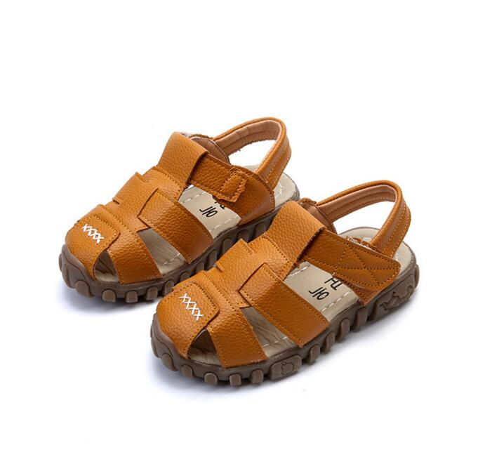 2017 Summer Child Casual Shoes Male Female Soft Leather Sandals Baby Toe Cap Covering Boys PU Leather Sandals Kids Sneakers