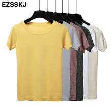 Summer Women Shiny Knitted T Shirt Top Tees Short Sleeve O Neck Casual T-Shirts Sexy Slim Knitwear Basic Elastic T-shirt White