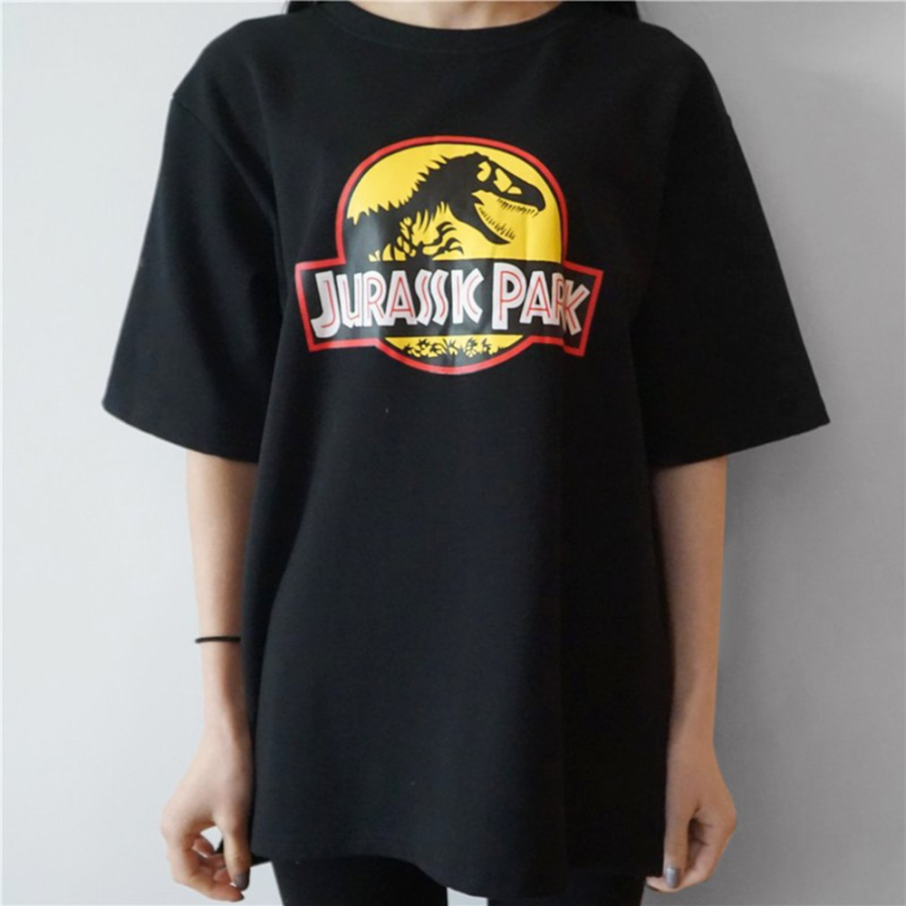 Summer Women Funny Tshirts Dinosaur Pattern Letter Print Cotton Short Sleeve Female Tee Tops Casual Loose Type Top Shirts