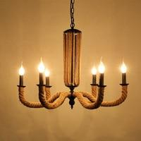 110v 220v Loft Iron Rope Black Wrought Iron Chandelier Plafondlamp Lamparas Colgantes Lampadario Cristallo Lustre De